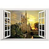 """DNVEN (24"""" w X 16"""" h 3D Full Colour High Definition Dreaming Ancient Old Castles False Faux Window Frame Window Mural Vinyl Bedroom Living Room Playroom Wall Decals Stickers"""