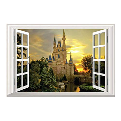 DNVEN 24 inches x 16 inches 3D Full Color High Definition Dreaming Ancient Old Castles False Faux Window Frame Window Mural Vinyl Bedroom Living Room Playroom Wall Decals Stickers -