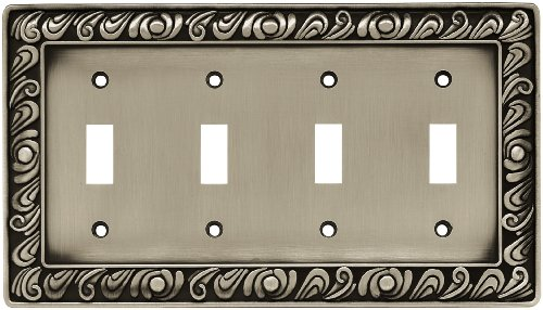 Quad Switch Wall Plate - Franklin Brass 64041 Paisley Quad Toggle Switch Wall Plate / Switch Plate / Cover, Brushed Satin Pewter