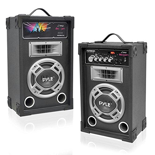 (Portable Two Way Speaker System - 800W High Powered Disco Jam Active + Passive Pair Indoor Outdoor Sound PA Speakers w/ USB SD MP3 FM Radio AUX RCA Digital Display - 35mm Stand Mount - Pyle PSUFM835A)