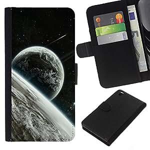 KingStore / Leather Etui en cuir / HTC DESIRE 816 / Estrellas Espacio Luna Planetas Tierra Cosmos extranjeros