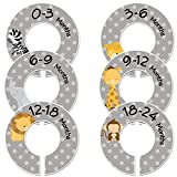 Baby Closet Dividers C87 Jungle Animals Set of 6 Fits 1.25 inch Rod