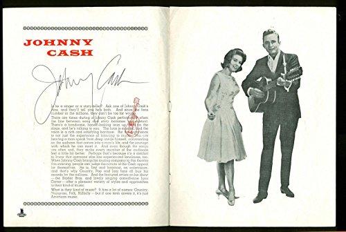 Johnny Cash Signed 8x10.5 Mid-1960s UK Souvenir Program BAS #B00987 - Beckett Authentication
