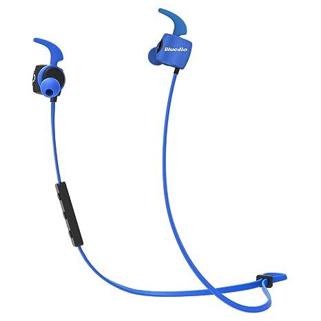 Bluedio TE (Turbine) Auriculares Bluetooth Inalámbricos antisudor con micrófono ligeros para deportes (Azul