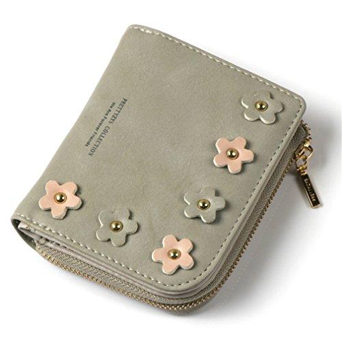 Fille Main Hasp Applique Crédit Parure Mode short Zipper Pocket Portefeuille de Titulaire D'embrayage gray Femmes Portefeuille amp; Sac à Pour Carte Femelle Purse xvRgq