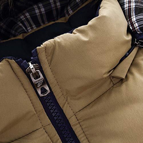 Taille Day De Automne Hommes Unicolore Mode Capuche Warm Kaki Outwears Grande Longues lin Épaississement Cols Coton Tops En Hiver À Manteaux Manches AA4nUx6rW