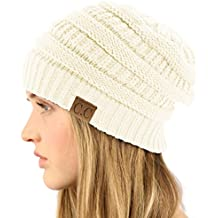 Unisex Winter Chunky Soft Stretch Cable Knit Slouch Beanie Skully Ski Hat