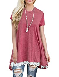 Women's Short & Long Sleeve A-line Flowy Tunic Tops (US 4-22)