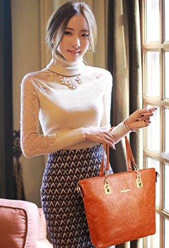 Bolsos marrón Piel coofit Mujer Marrón Mujer Conjuntos Bandolera De Seis wp8qpPrx