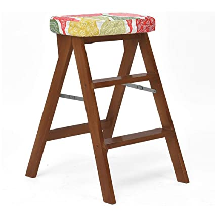 Surprising Amazon Com Dall Foldable Step Stool Ladder Stool Solid Wood Machost Co Dining Chair Design Ideas Machostcouk