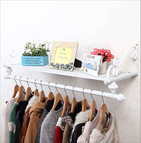LIAN Wall-mounted Clothing Rack Wall Clothing Shelf Clothing Shop Display Rack American Black Iron Art American Style Village (Color : White) by LIAN (Image #1)