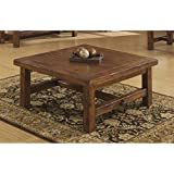 Emerald Home Chambers Creek Brown Coffee Table with Plank Style Top And Straight Timber Legs