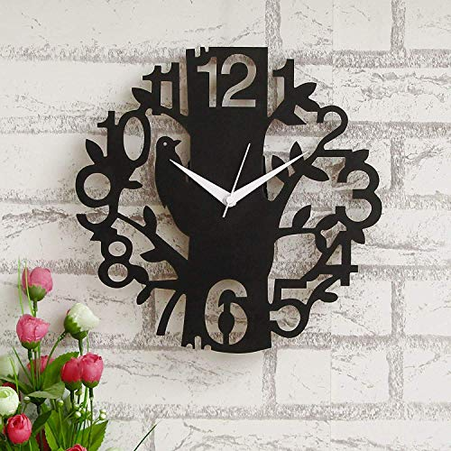 Aayog Creations 29.00cm x29.00cm Bold and Beautiful' Big Number Wood Designer Wall Clock for Home Decor (Black Bird).