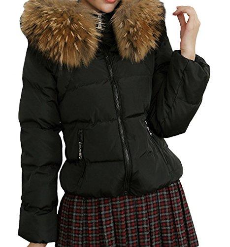 D.Man Women's Mid Long Large Fur Trim Belted Slim Winter Down Coat Jacket 2XL Black