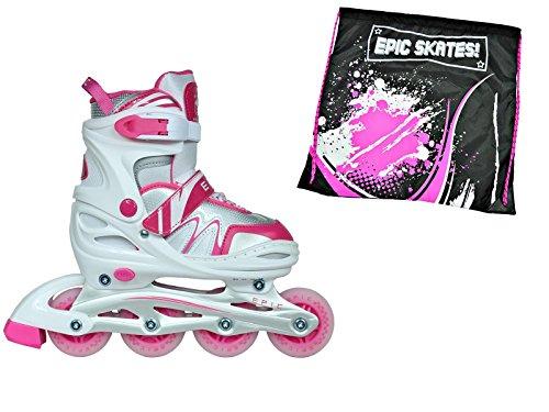 お願いしますくるくる胃Epic Pixieホワイト&ピンクadj.インラインローラースケートW /すべて4 LEDライトUpホイール+ボーナスドローストリングバッグ。 Youth 1-4 Drift