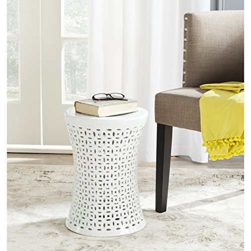 Safavieh Castle Gardens Collection Camilla White Glazed Ceramic Garden Stool (Ceramic Garden White Stool)