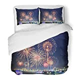 SanChic Duvet Cover Set Fireworks Over Cityscape By the Beach and Sea Surrounding with Hotels Restaurant Service Boats Cruises Decorative Bedding Set with 2 Pillow Shams Full/Queen Size