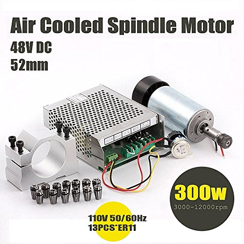 Konmison 1Set DIY Mini CNC 300w DC Spindle Motor + 52MM Clamp + 110V Power Converter + 13 PCS ER11 Collect by Konmison