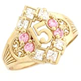 10k Yellow Gold Simulated Pink Birthstone Beautiful Quinceanera 15 Anos Ring