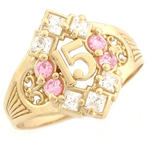 10k Yellow Gold Simulated Pink Birthstone Beautiful Quinceanera 15 Anos Ring by Jewelry Liquidation