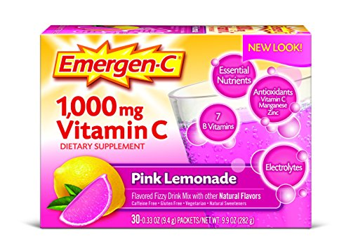 Emergen-C Dietary Supplement Drink Mix with 1000 mg Vitamin C, 0.33 Ounce Packets, Caffeine Free (Pink Lemonade Flavor, 30 Count)