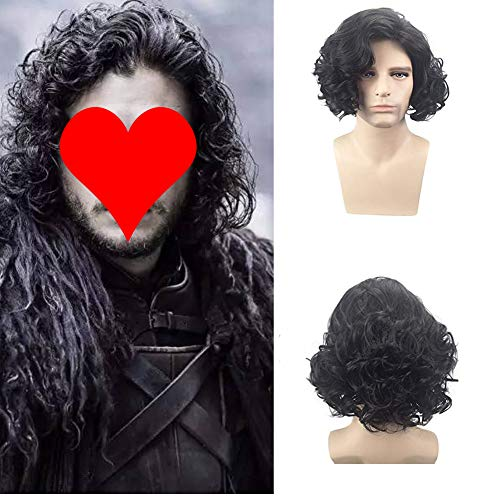 - BERON Short Curly Wig Natural Wavy Wigs for Cosplay Costume Party Come with Wig Cap (Black for Men)