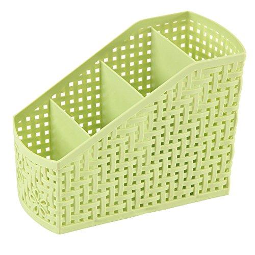 Olpchee Hollow Plastic Multifunctional Desktop Organizer Storage Box 4 Compartments (Green)