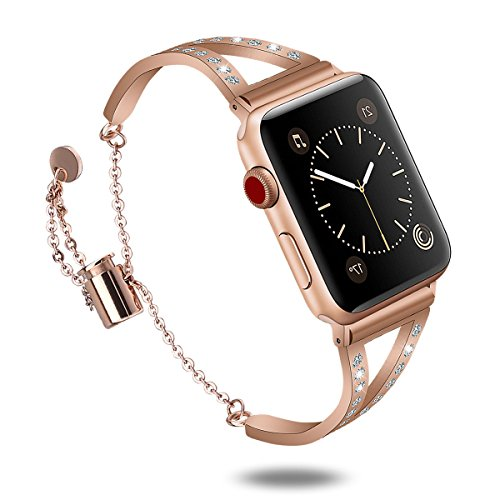Compatible Apple Watch Bands 38mm, Bling Apple Watch Classic Cuff Bracelet Stainless Steel Replacement Wristband Strap for Apple Watch Nike+, Series 3, Series 2, Series 1, Edition (Copper,38mm) by CAGOS