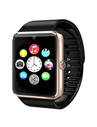 """Padgene 1.54"""" Touch Screen Bluetooth 3.0 Smart Watch Phone with SIM Card Slot and NFC Sleep Monitor Wrist Watch for IOS Apple iPhone, Android Samsung HTC Sony LG Smartphones (Gold)"""