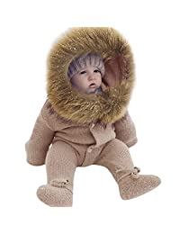 Vanvler -kids outwear Baby Hooded Coat Warm,Girl Boy Infant Knit Romper Jumpsuit Outerwear Clothes Winter