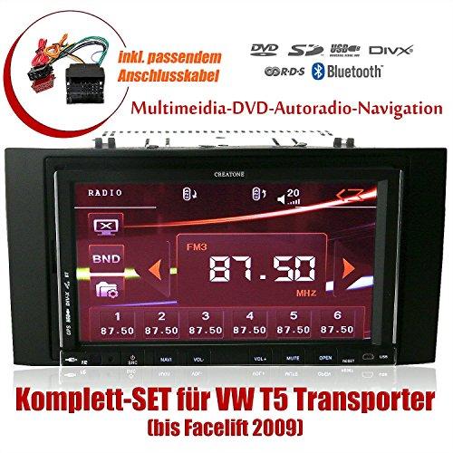 2DIN Autoradio CREATONE CTN-9268D56 für VW T5 Transporter (bis Facelift 2009) mit GPS Navigation, Bluetooth, Touchscreen, DVD-Player und USB/SD-Funktion