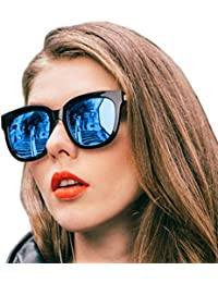 Mirrored Sunglasses for Women, Oversized Frame with UV400...