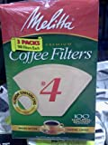 Melitta Cone Coffee Filters Natural Brown #4, 100 Count (Pack Of 3)