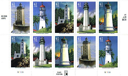 2007 PACIFIC LIGHTHOUSES ~ DIAMOND HEAD ~ FIVE FINGER ~ GRAYS HARBOR ~ UMPQUA RIVER ~ GEORGE REEF #4150a Plate Block of 10 x 41¢ US Postage Stamps
