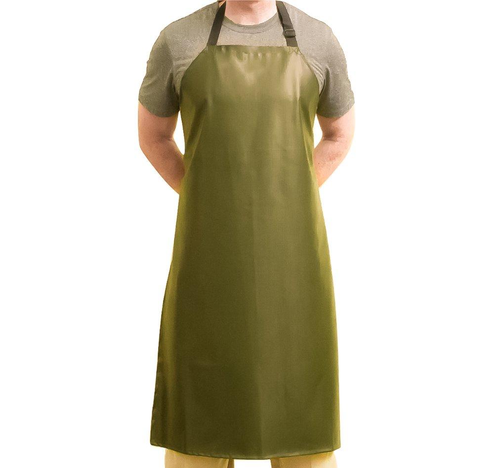 Tuff Apron™ Green Heavy Duty Waterproof with Neck Adjuster Durable Long Kitchen Dishwashing Bib 41'' x 27'' PVC Vinyl