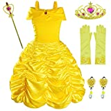 Princess Belle Costume Birthday Party Fancy Dress Up For Girls with Accessories(Crown+Wand+Earrings+Gloves) 24Months(90cm)