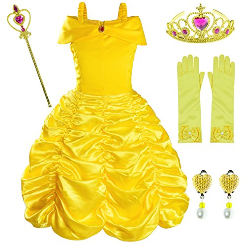 Princess Belle Costume Birthday Party Fancy Dress Up For Girls with Accessories(Crown+Wand+Earrings+Gloves)5-6 Years(125cm) -