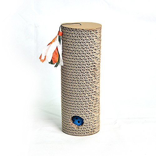 OWIKAR Cat Scratching Post Cat Scratch Corrugated Paper Board With Bell Balls And Catnip Cylinder Pet Cat Toys Scratcher
