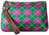 Sydney Love Argyle Wristlet Cosmetic Case,Pink/Green,One Size