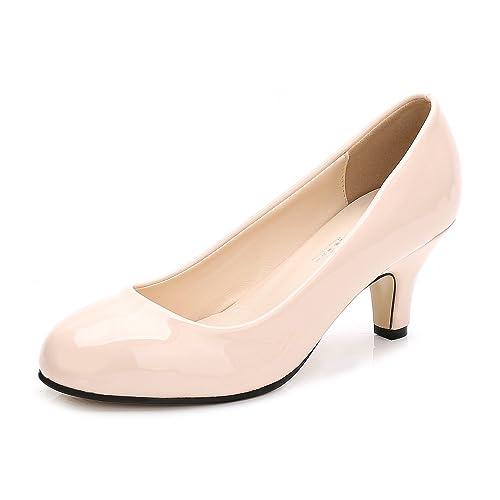 688c5b4ce0e96 OCHENTA Women's Round Toe Kitten Heel Dress Work Party Pumps Beige Patent  Label Size 35 -