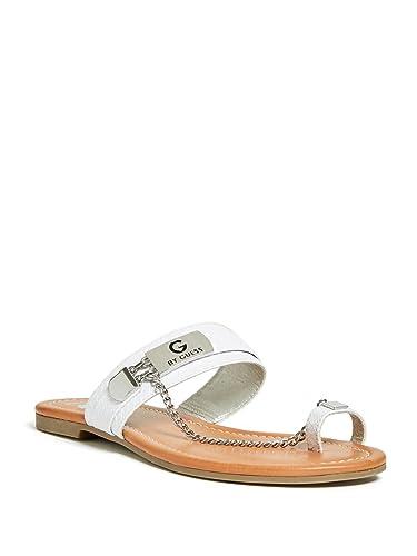 aa93064bde Amazon.com | G by GUESS Women's Loren Toe Strap Chain Sandals | Heeled  Sandals