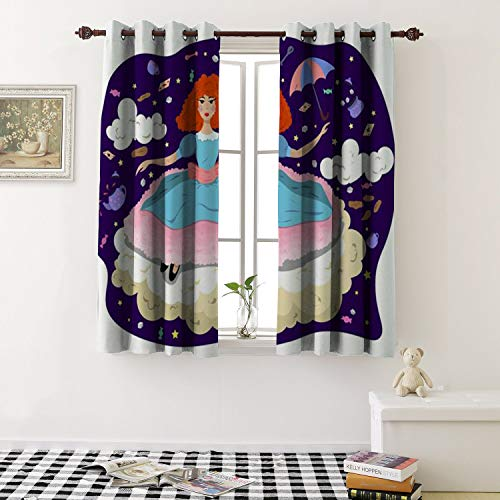 1GShophome Thermal Insulating Blackout Curtain Girl in a Dress on a Cloud in The Style of Alice in Wonderland Grommets Customized Curtains (1 Pair, 52