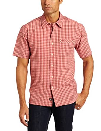 Quiksilver Waterman Men's Magnets Short Sleeve Shirt, Red, Large