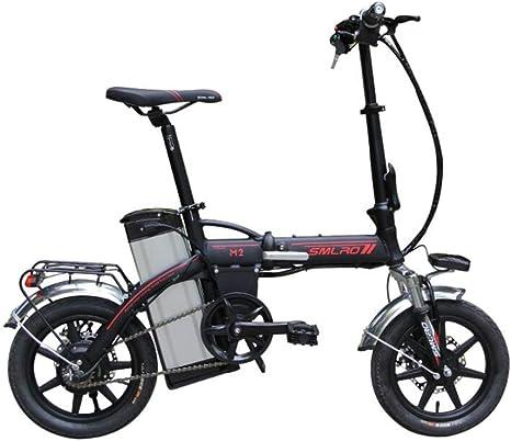 ZZQ Bicicleta eléctrica de 14 Pulgadas 48V 16Ah 350W Plegable E Bicicletas y Gran autonomía 60KM kilometraje para Adultos,Negro: Amazon.es: Deportes y aire libre