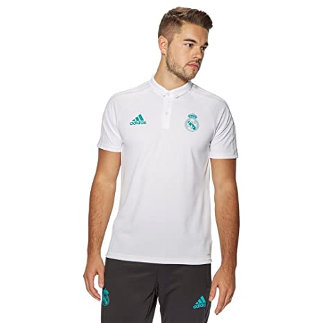 2fc36e3dc28 adidas 2017-2018 Real Madrid Polo Football Soccer T-Shirt Jersey (White)