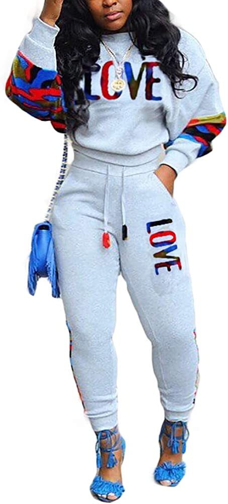 Uni Clau Women Camo Patchwork 2 Piece Tracksuit Letter Print Crew Neck Sweatshirt Jogger Pant Sets Sweatsuit