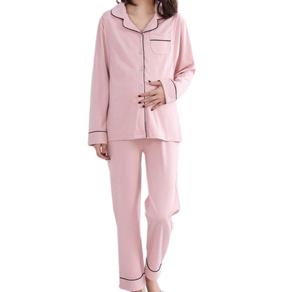 Samber 2 Piezas de Pijamas para Mujer Premamá Ropa de Lactancia y Maternidad Pijamas Otoño e Invierno