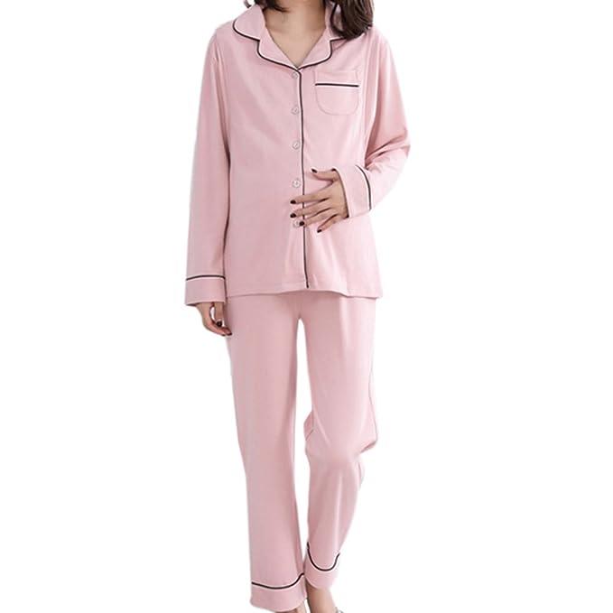 Samber 2 Piezas de Pijamas para Mujer Premamá Ropa de Lactancia y Maternidad Pijamas Otoño e