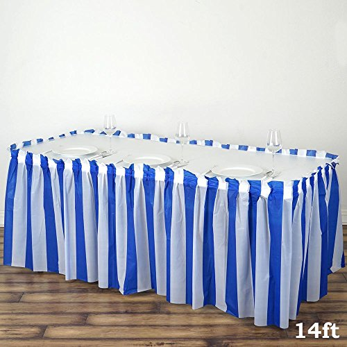 (Efavormart 5 PCS 14FT White/Royal Blue Stripe Disposable Waterproof Plastic Table Skirt for Dining Catering Wedding Birthday Party)
