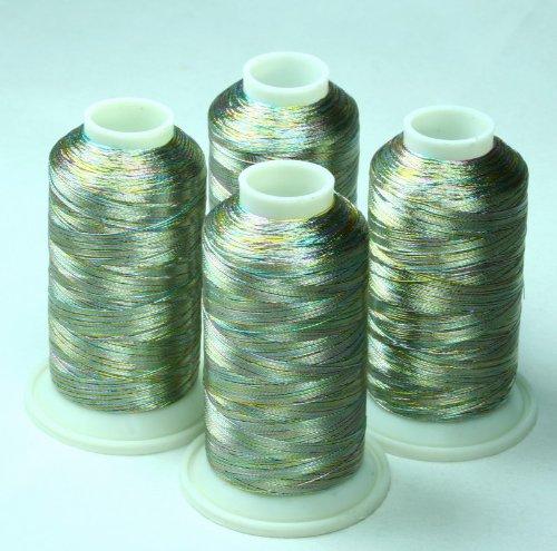 ThreadNanny 4 MULTICOLOR METALLIC MACHINE EMBROIDERY THREAD (Metallic Thread Cone)